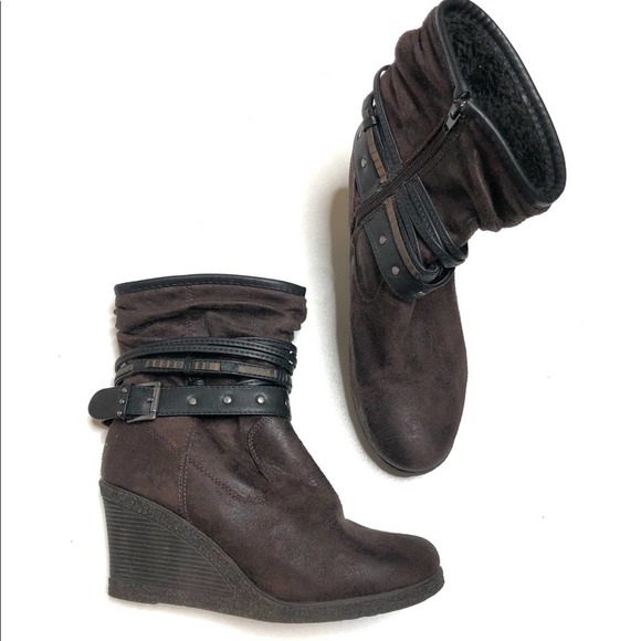 Muk Luks suede wedge boots with buckle and trim